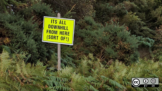 downhill sign on a road
