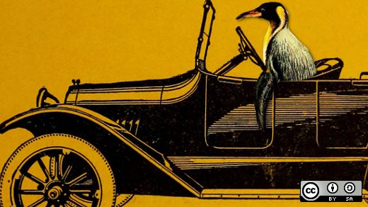 Penguin driving a car with a yellow background