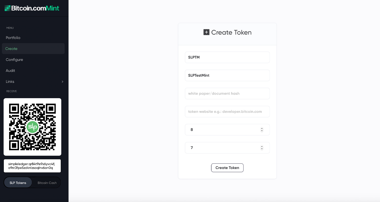 How to Create Custom SLP Tokens With the Bitcoin.com Mint