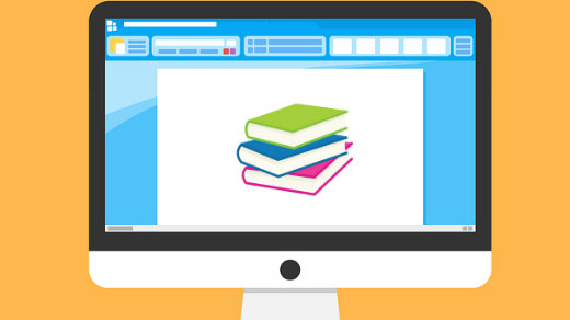 Computer browser with books on the screen