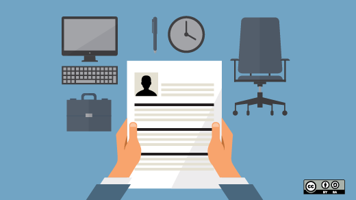 Two hands holding a resume with computer, clock, and desk chair