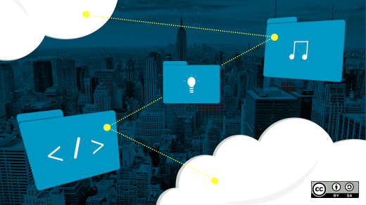 Blue folders flying in the clouds above a city skyline