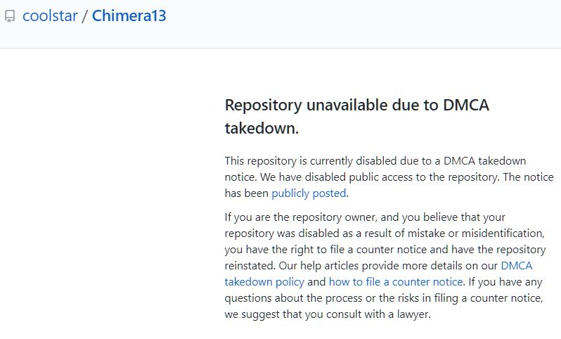 Chimera13 removed DMCA