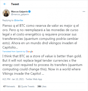 Argentine Billionaire Marcos Galperin Says Bitcoin a 'Better Store of Value Than Gold' as Officials Plan to Print More Pesos