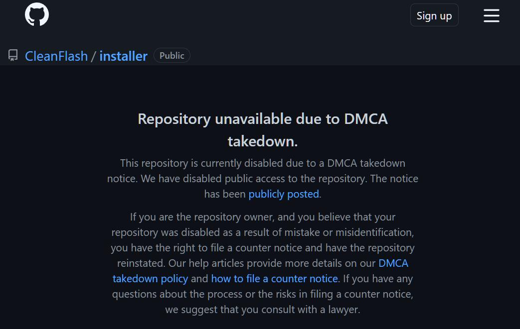 Clean Flash DMCA